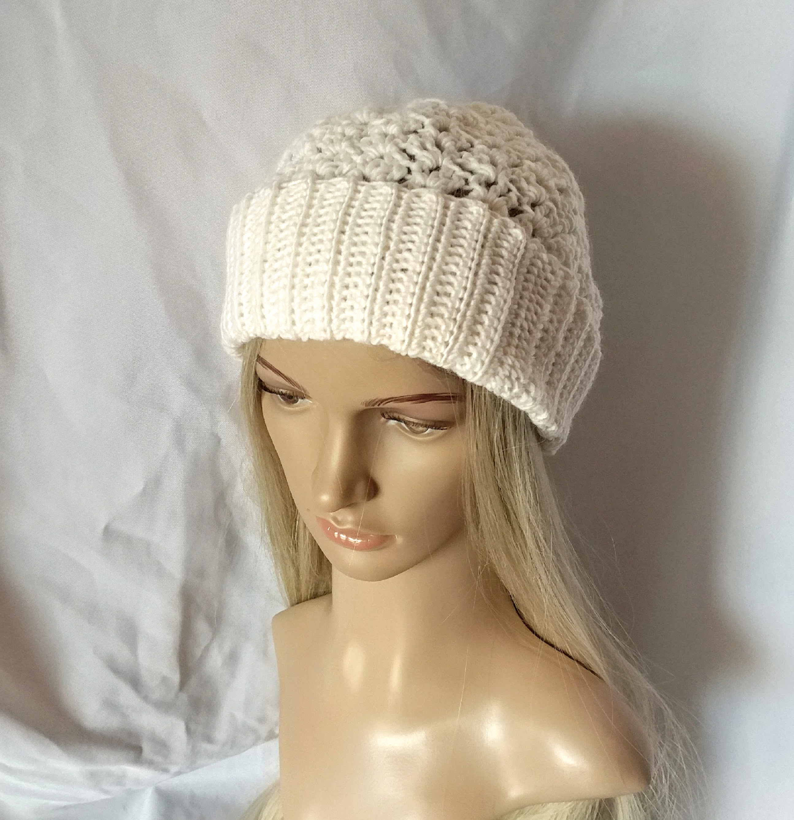 Ivory Wool Hat Ribbed Brim Cream Slouchy lacy Beanie Handmade Crochet  Stocking cap – 910woolgathering 8a388da4333